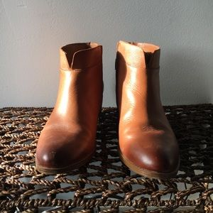 Comfy Leather Ankle Booties in saddle tan